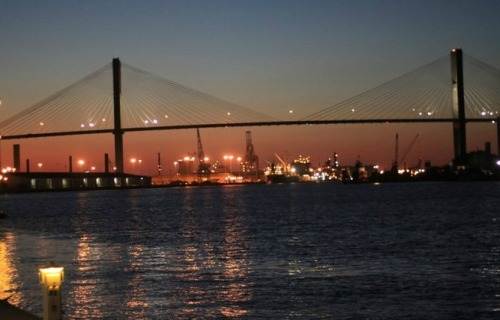 The view of Talmadge Memorial Bridge from River Street.