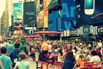 Times Square was crowded as usual.