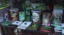 Cannibas-themed merchandise is a common sight in store windows.