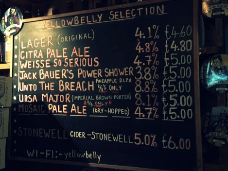 The beer selection at Simon Lambert & Sons Brewpub - Wexford, Ireland